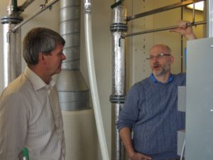 Paal Jahre Nilsen, R&D director in Cambi, takes Rune Ingels from N2 Applied on a guided tour of the pilotplant as part of the preparations for the prototype plasma reactor installation in Q2 2014.