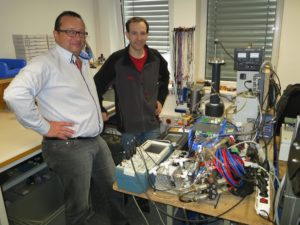 Ferdinand Stempfer and Roman Kettler, SBI GmbH, working on the prototype.  The prototype will be installed at Cambi AS biogas pilotline in Hamar Norway Q2 2014