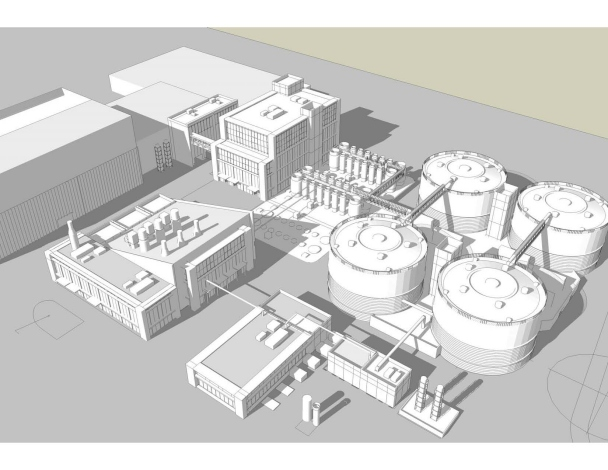 Drawing of a Cambi biogas plant.  US Breakthrough in Washington DC.  Link to website.